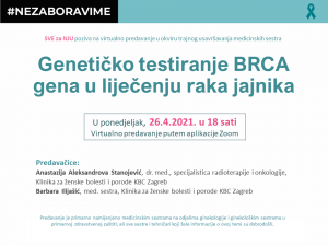 """Virtualna edukacija pod nazivom """"Genetičko testiranje BRCA gena u liječenju raka jajnika"""""""